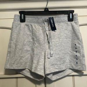 Gray sweat-pant material shorts